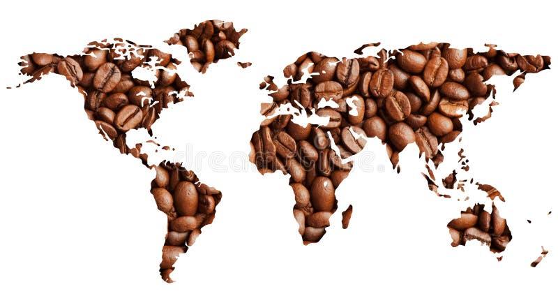 Carte du monde avec des grains de café photo stock