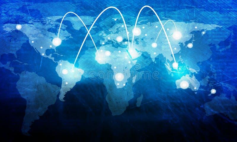 Carte du monde avec des lumières images stock