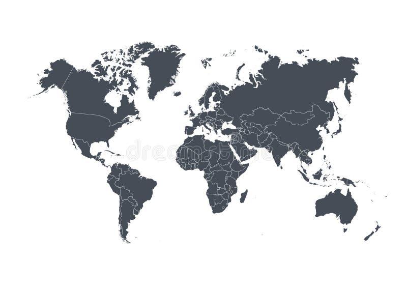 Carte du monde avec des pays d'isolement sur le fond blanc Illustration de vecteur photos stock