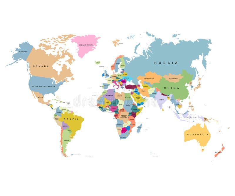 Carte du monde avec des pays sur un fond blanc illustration stock