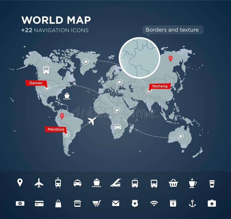 Carte du monde avec 22 icônes illustration stock