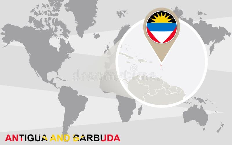 Carte du monde avec l'Antigua-et-Barbuda magnifié illustration de vecteur