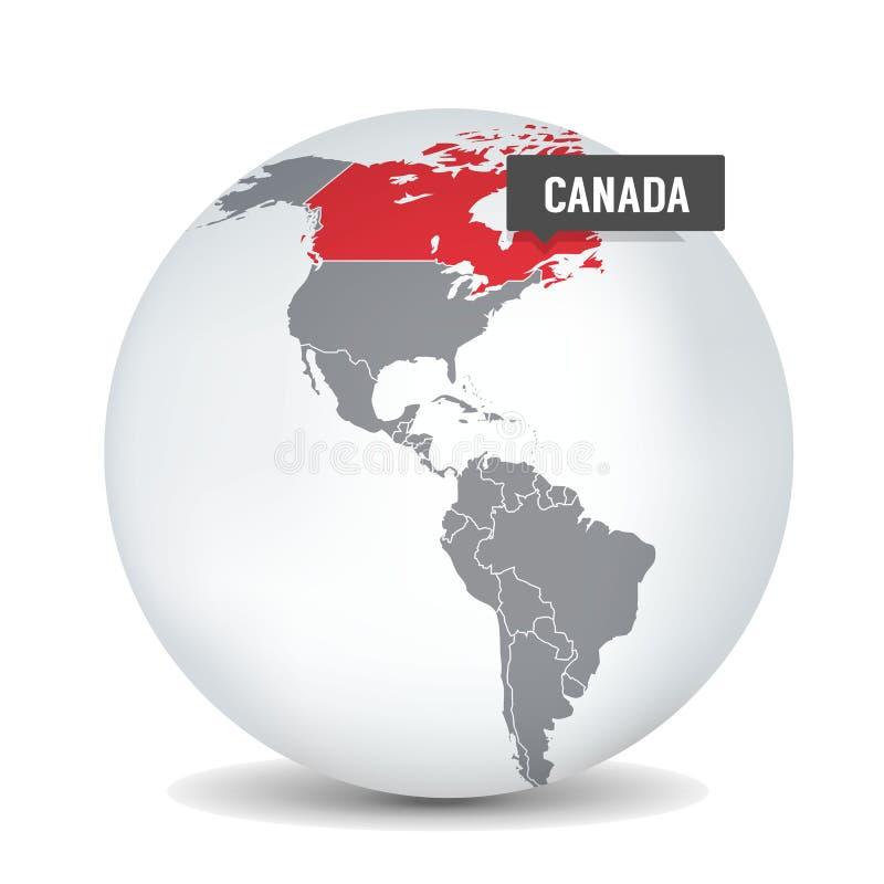 Carte du monde avec l'identication du Canada Carte du Canada illustration stock