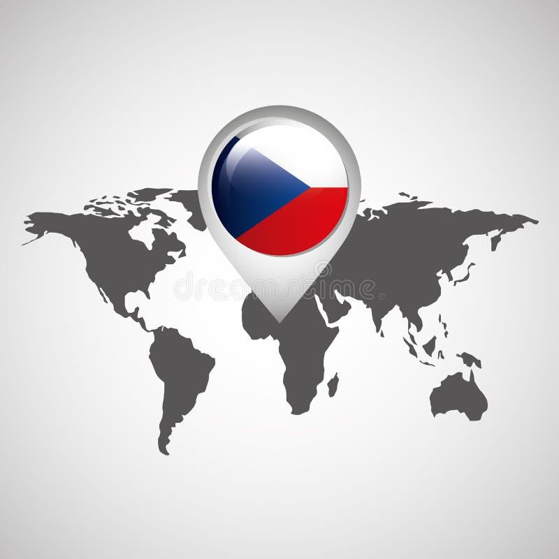 Carte du monde avec la République Tchèque de drapeau d'indicateur illustration stock
