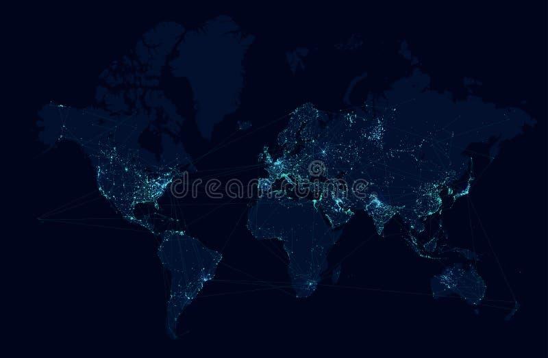 Carte du monde avec le réseau global de technologie et de télécommunication Vecteur illustration libre de droits
