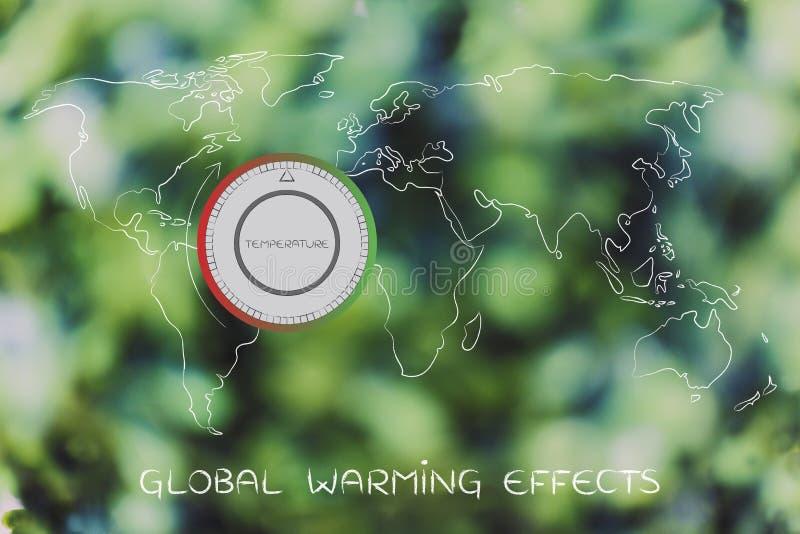 Carte du monde avec le thermostat, le réchauffement global et le changement climatique illustration de vecteur