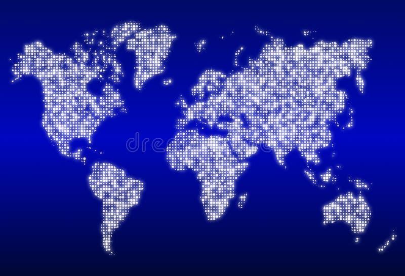 Carte du monde avec les centres de traitement des données rougeoyants illustration libre de droits