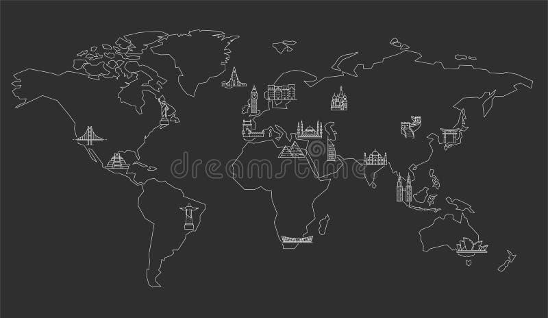 Carte du monde avec les points de rep?re c?l?bres illustration de vecteur