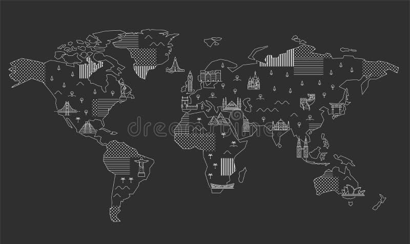 Carte du monde avec les points de rep?re c?l?bres illustration stock