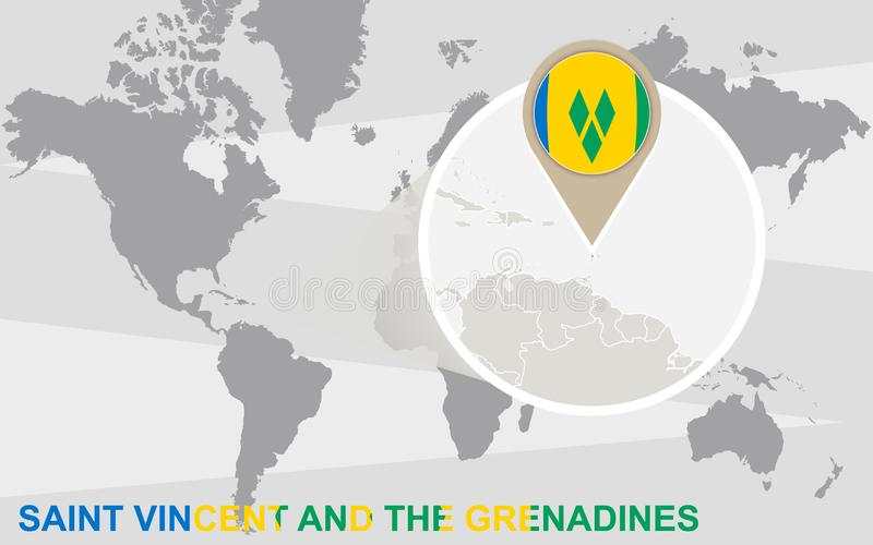 Carte du monde avec Saint-Vincent-et-les-Grenadines magnifié illustration de vecteur