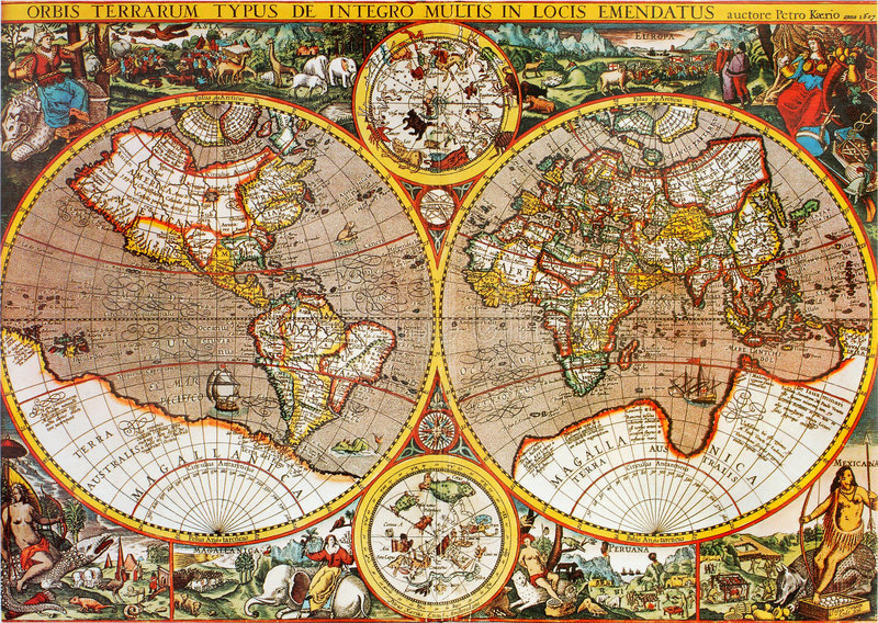 Carte du monde d'antiquité photographie stock libre de droits