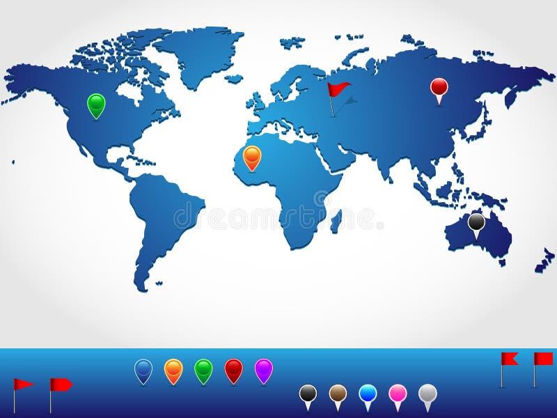 Carte du monde d'emplacement illustration libre de droits