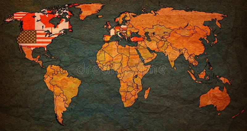 Carte du monde d'onl d'Organisation du Traité de l'Atlantique Nord illustration de vecteur