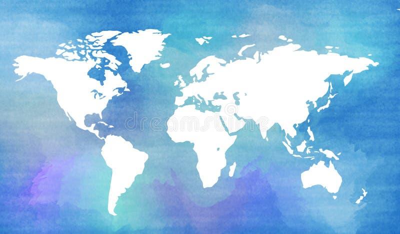 Carte du monde dans le style d'aquarelle illustration de vecteur