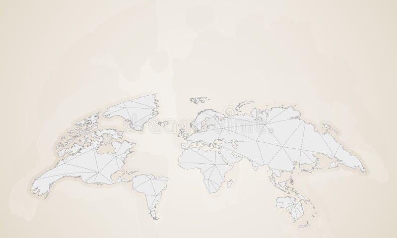 Carte du monde dans le style de cru Carte arrondie du monde de vecteur illustration de vecteur