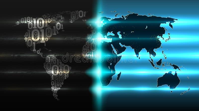 Carte du monde de code binaire avec avec un fond des cartes abstraites Concept de l'Internet des choses, illustration de vecteur illustration stock