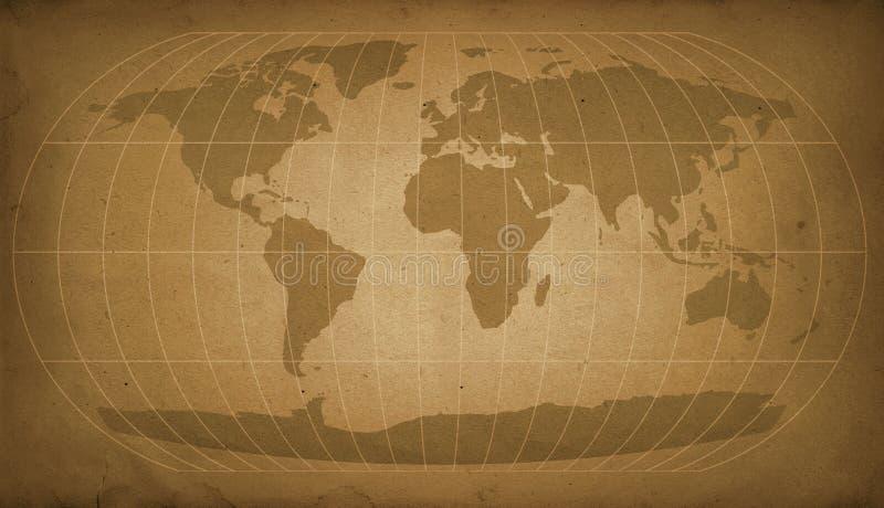 Carte du monde de cru illustration de vecteur