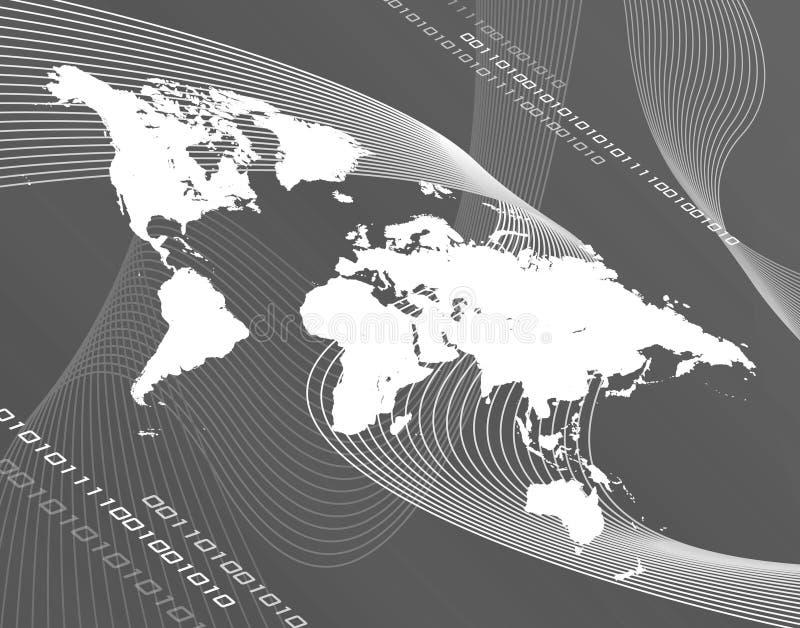 Carte du monde de gamme de gris illustration de vecteur