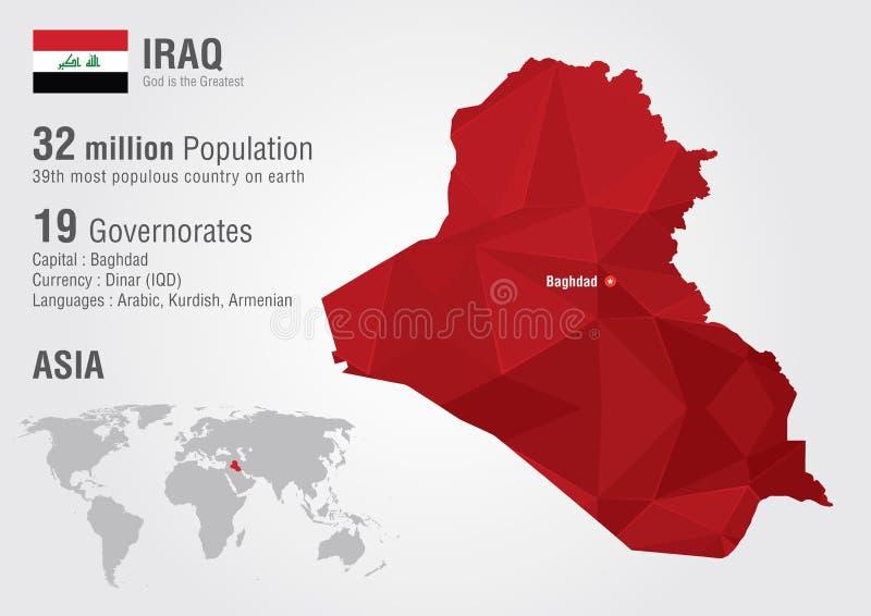 Carte du monde de l'Irak avec une texture de diamant de pixel illustration de vecteur