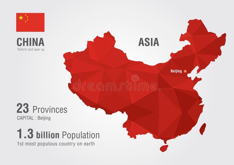 Carte du monde de la Chine avec une texture de diamant de pixel illustration libre de droits