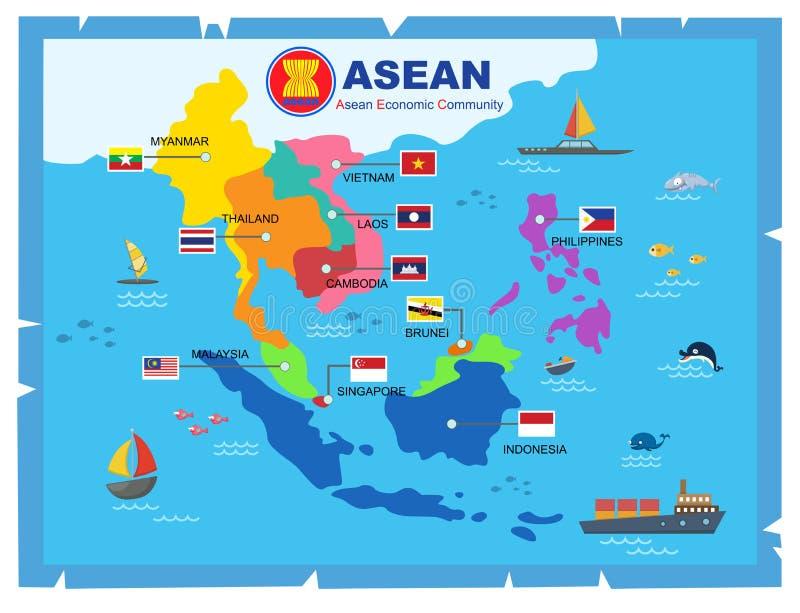 Carte du monde de la communauté économique d'ASEAN de l'AEC illustration libre de droits