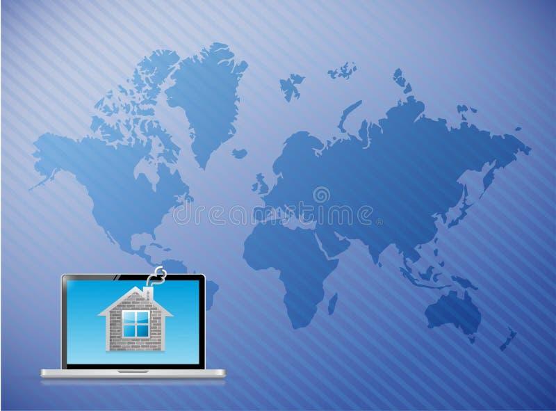 Carte du monde de maison d'ordinateur portable de télécommunication illustration libre de droits
