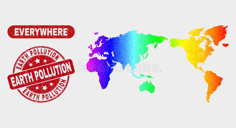 Carte du monde de mosaïque et joint spectraux de pollution de la terre de détresse illustration stock