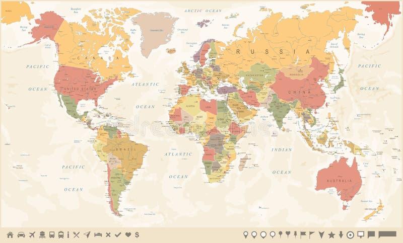 Carte du monde de vintage et marqueurs - illustration de vecteur illustration libre de droits