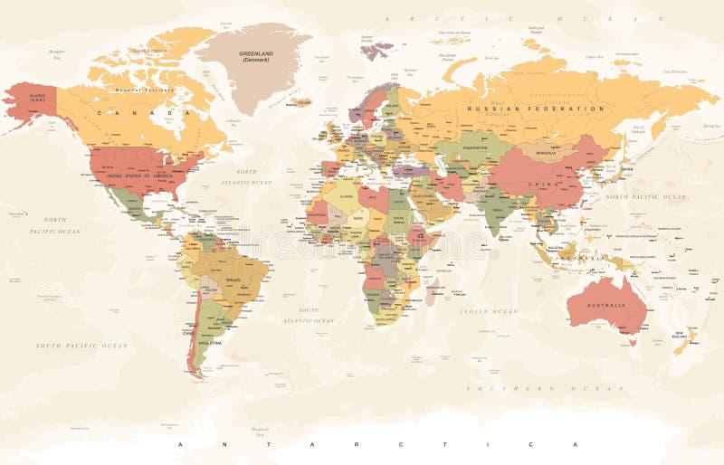 Carte du monde de vintage - illustration de vecteur illustration libre de droits