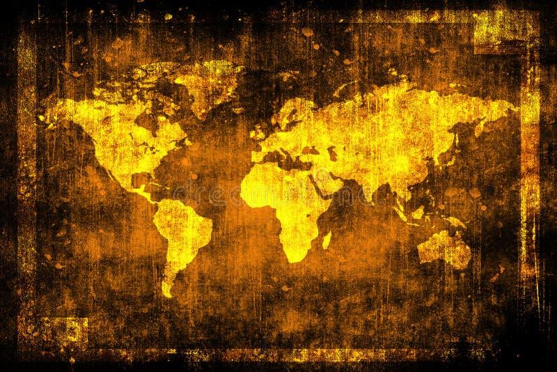 Carte du monde de vintage sur le vieux mur sale Surface d'éraflure Trame grunge illustration stock