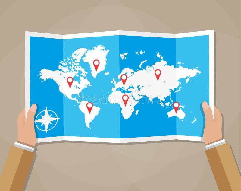 Carte du monde de voyage de vecteur dans des mains illustration de vecteur