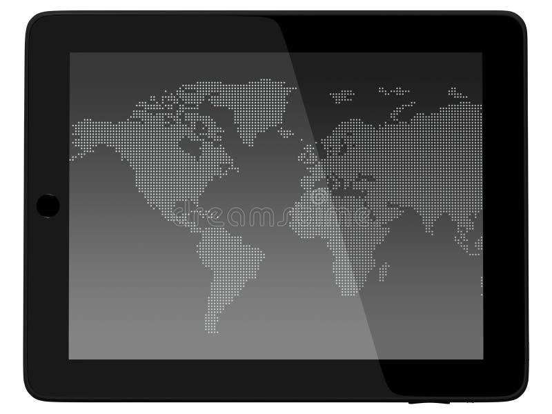 Carte du monde de woth d'ordinateur de PC de tablette illustration de vecteur
