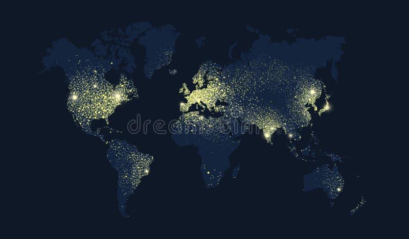 Carte du monde des lumières de planète de la terre la nuit illustration stock