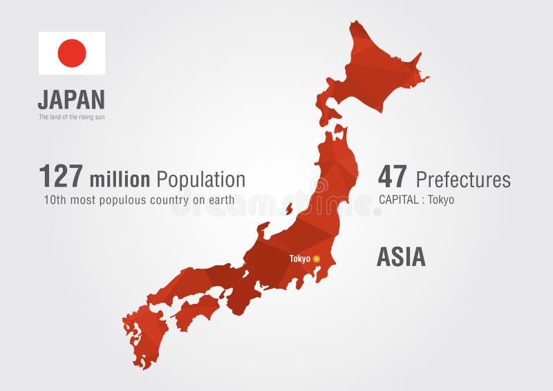 Carte du monde du Japon avec une texture de diamant de pixel illustration stock