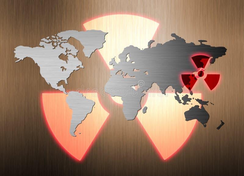 Carte du monde en métal et fuite de rayonnement nucléaire illustration libre de droits