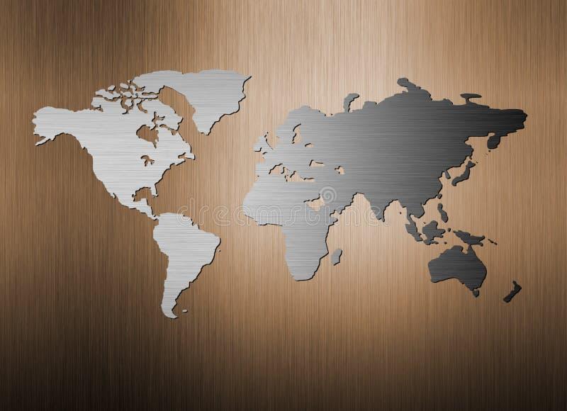 Carte du monde en métal sur le fond en métal illustration stock