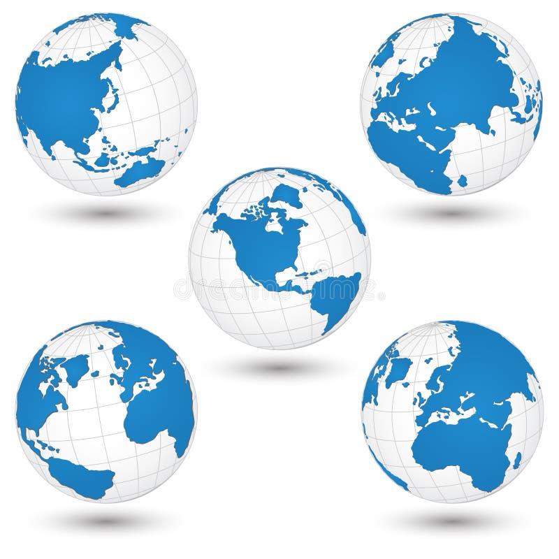 Carte du monde et illustration de vecteur de petit groupe de globe illustration libre de droits