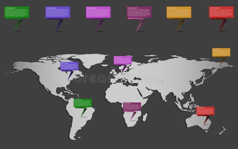 Carte du monde infographic avec l'ensemble de rubans Infograph illustration stock
