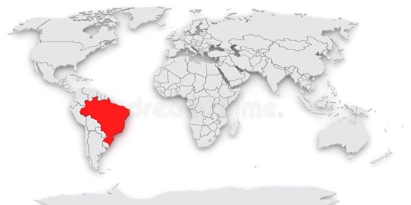 Carte du monde. L'Amérique. illustration stock