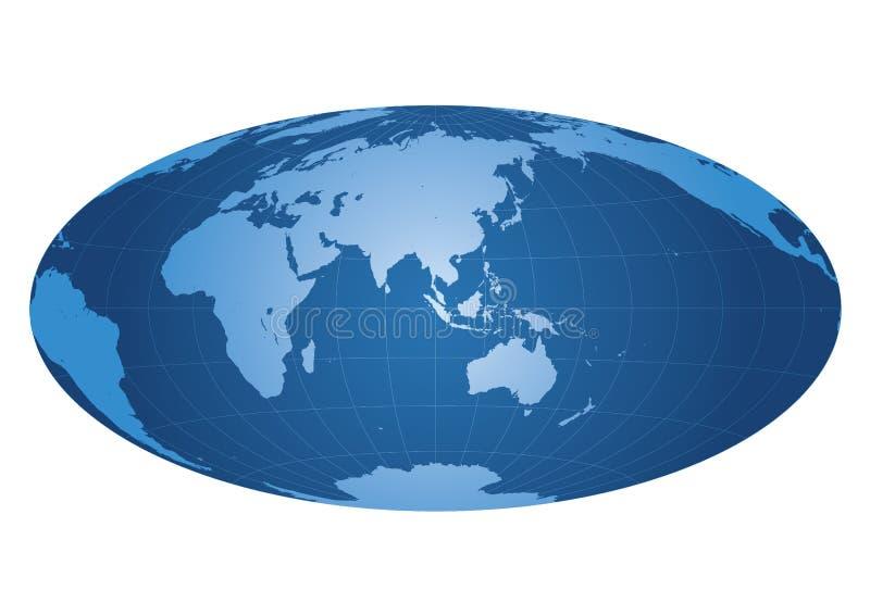 Carte du monde portée sur l'Asie illustration de vecteur