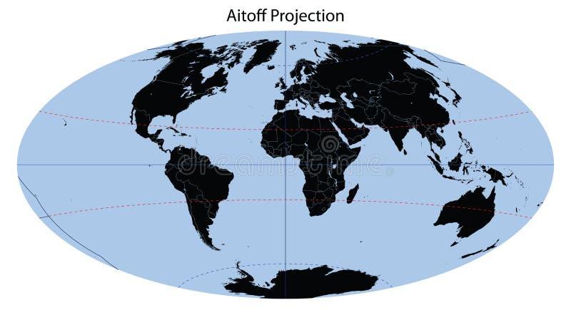Carte du monde (projection d'Aitoff) illustration libre de droits