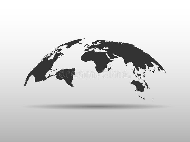 Carte du monde s'enflant dans une forme de globe Carte abstraite de la conception 3D avec l'ombre laissée tomber illustration stock