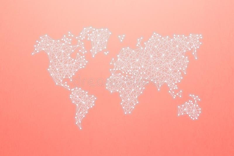 Carte du monde selon le principe des réseaux neurologiques sur le fond de corail La communaut? et r?seau du monde image stock