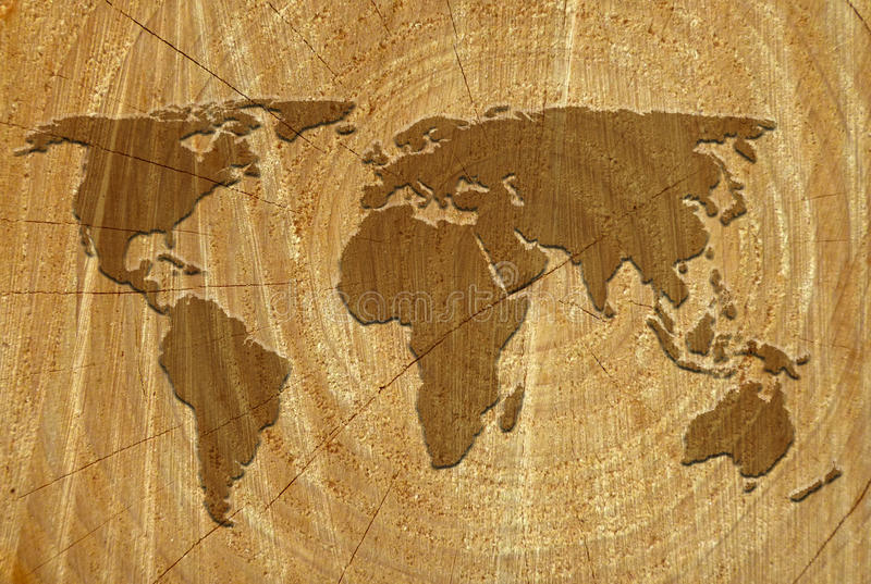 carte du monde sur la surface en bois illustration stock. Black Bedroom Furniture Sets. Home Design Ideas