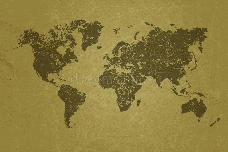 Carte du monde sur la texture de papier grunge vide illustration libre de droits