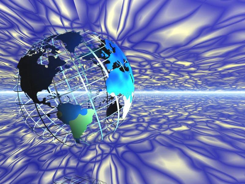 Carte du monde sur le réseau dans l'espace. illustration de vecteur