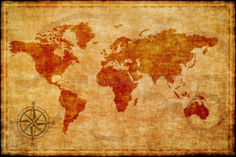 Carte du monde sur le vieux papier images stock