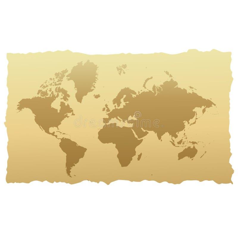 Carte du monde sur le vieux papier illustration de vecteur