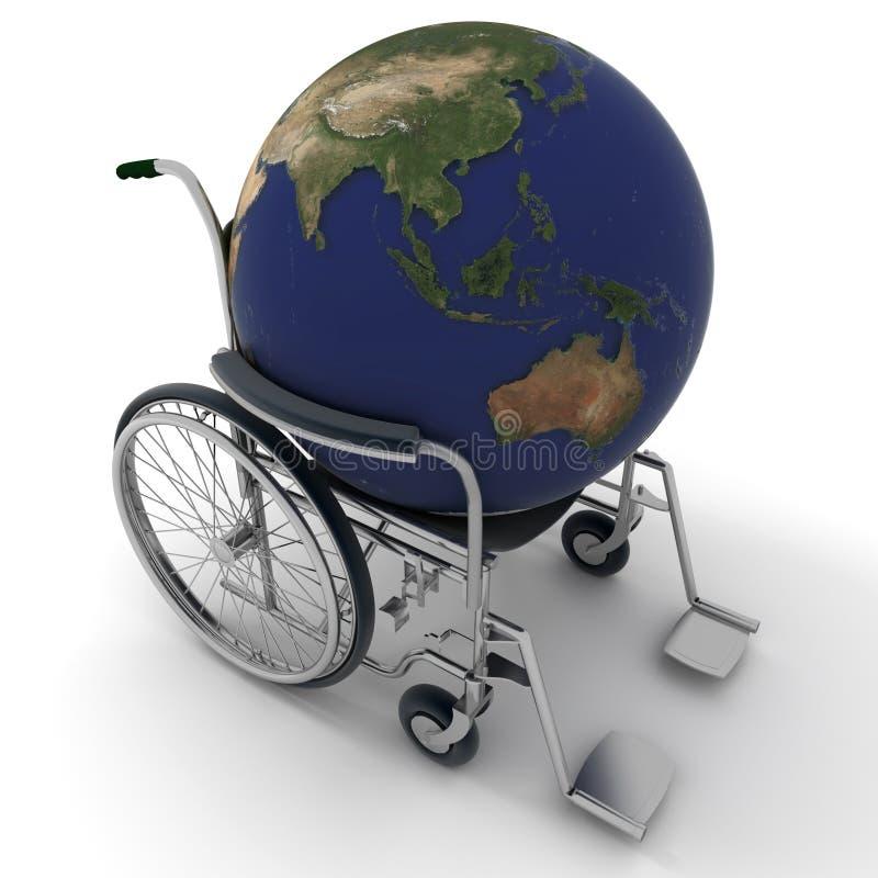 Carte du monde sur un fauteuil roulant illustration stock