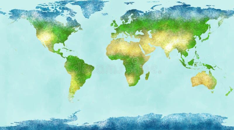 Carte du monde, traçages tirés par la main et illustrés illustration stock